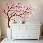 Tree wall decal Large tree wall decals nursery wall decor whimsical wall mural kids playroom wall decoration with cute birds and leaves 099