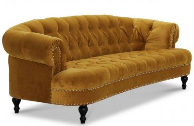 Oxford 3-sits Chesterfield Soffa Gold Sammet