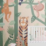 Jungle Animals and Leaves Wallpaper