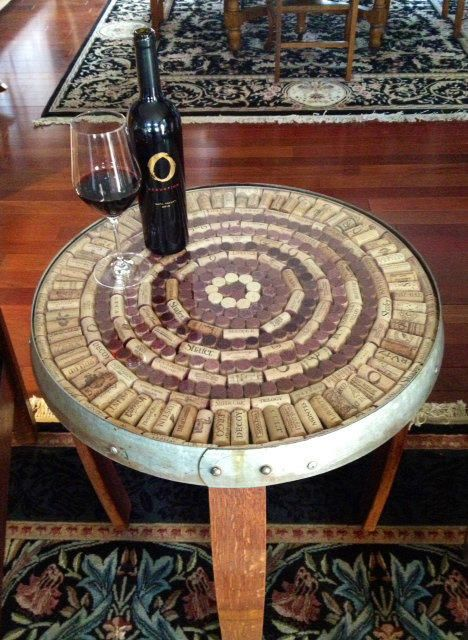 Wine Barrel Stave Accent Table Cork Kit från sterlingwineonlin …. Sparad i tunn …