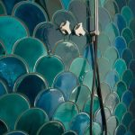 1 sq feet (1 ft2) mix of intensive colour and lighter colour Moroccan fish scale - ceramic tiles - fully handmade