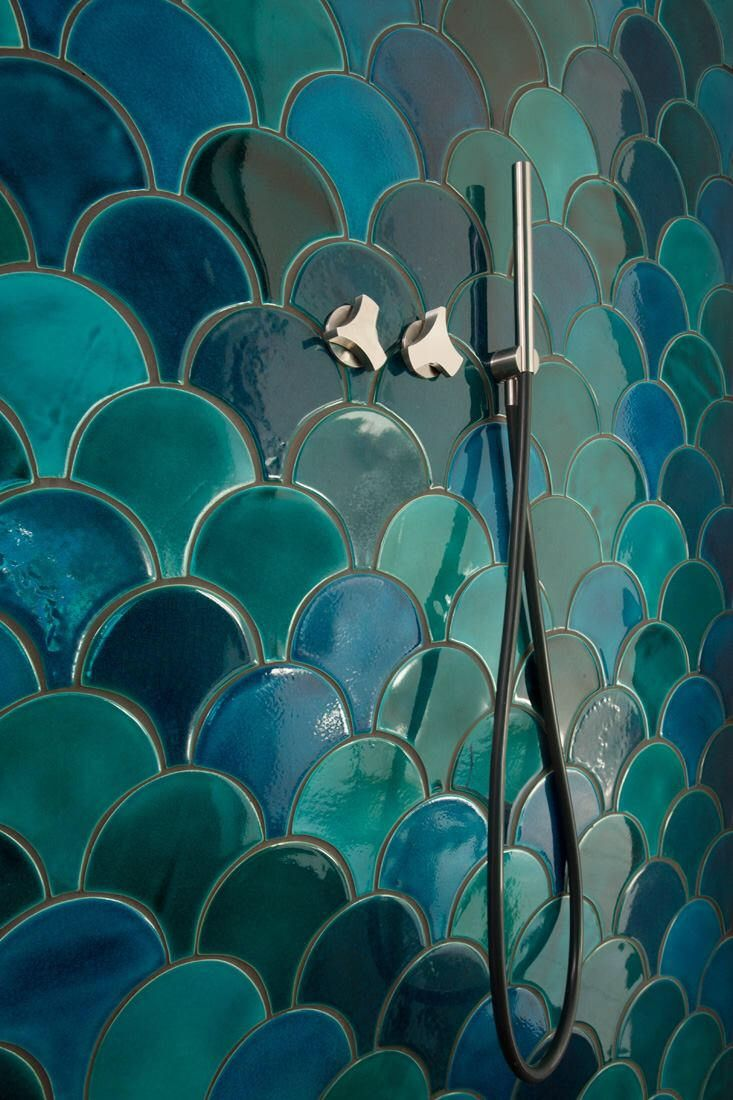 1 sq feet (1 ft2) mix of intensive colour and lighter colour Moroccan fish scale – ceramic tiles – fully handmade