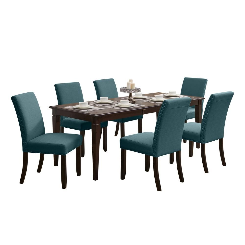 Handy Living Cristina 7-Piece Rectangular Dining Set With Upholstered Armless Chairs in Orange Linen, Orange Fabric & Espresso Brown Finish