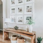 modern farmhouse foyer design with rustic bench and wall gallery, neutral farmhouse hallway decor, fixer upper bench and wall decor in family room, neutral farmhouse decor
