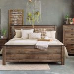 "54"" Rustic Farmhouse Plank Panel Bed in Brown"