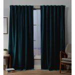 """54""""x96"""" Velvet Back Tab Light Filtering Window Curtain Panels Teal (Blue) - Excl..."""