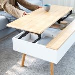 A stylish, white & bamboo lift-top coffee table for your modern living room. Tra...