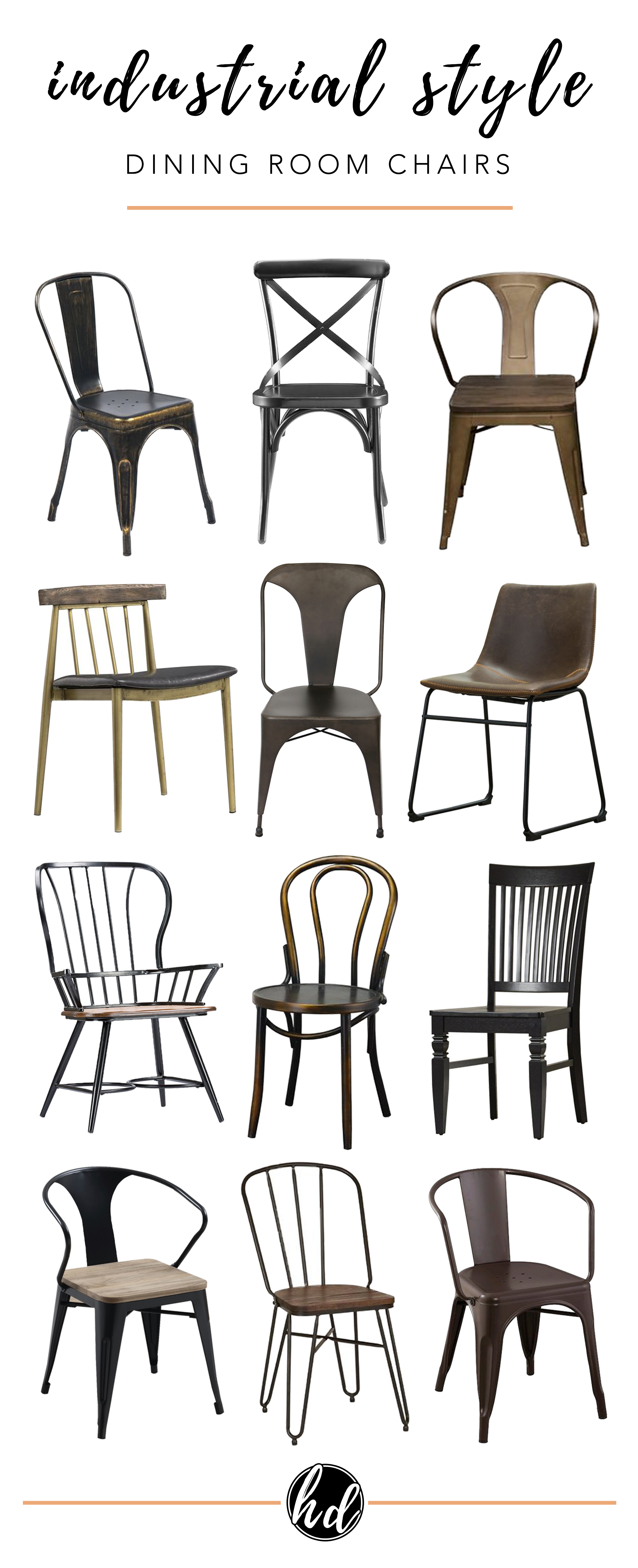 AFFORDABLE MODERN INDUSTRIAL DINING CHAIRS