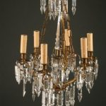 Antique French 6 arm iron and crystal antique chandelier