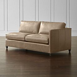 Barrett Leather Right Arm Apartment Sofa | Crate and Barrel