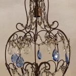 Blue Birdcage Antique Chandelier, Crystal Beaded Chandelier, Vintage Chandelier, Pendant Light, Wiring Comp USA, Free Shipping USA