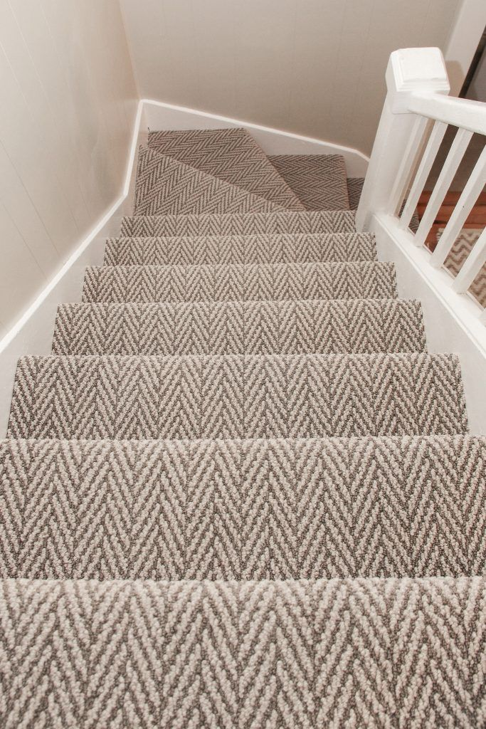 Brown and Beige Pattern Carpet Staircase