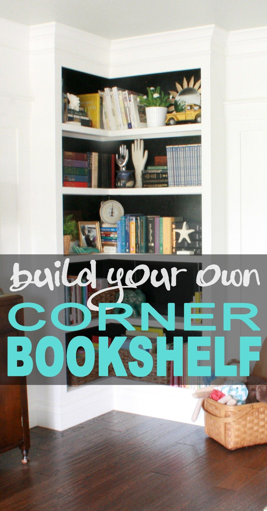 Build your own built-in corner bookshelf with this detailed tutorial. It's perfe…