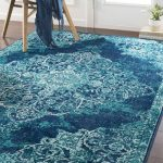 Bungalow Rose Ramsay Cyan/Dark Blue Area Rug Rug Size: Rectangle 2' x 3'