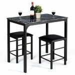 Buy Costway 3 Piece Counter Height Dining Set Faux Marble Table and 2 Chairs Kit...
