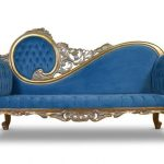 Citronelle, Victorian Style, Gold leaf , Tufted Blue Velvet, Chaise Lounge