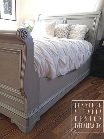 Classic Custom Order Sleigh Bed Hand Painted Romantic Bed-Frame. Endless Color Variations