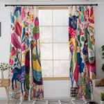 Colorful Patterned Zoo Nursery Patchwork Curtains And Drape Kid Room