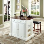"Coventry Drop Leaf Breakfast Bar Top Kitchen Island in White Finish w/ 24"" Cherry Upholstered Saddle Stools - Crosley KF300074WH"