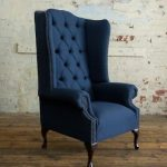 Details about MODERN NAVY HERRINGBONE WOOL HIGH BACK CHESTERFIELD WING CHAIR, ARMCHAIR