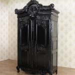 Distressed Black French Rococo 2 Door Armoire Wardrobe