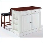 "Drop Leaf Breakfast Bar Top Kitchen Island in White with 24"" Cherry Saddle Stools - CROSLEY-KF300074WH - Crosley Furniture"