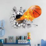 Europe And The United States Explosion Models 3D Stereo Basketball Wall Stickers Background Wall Stickers Decorative Stickers Children Wall Stickers Environmental Stickers Creative Wall Stickers