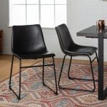 Faux Leather Whiskey Brown Dining Chairs Set of 2