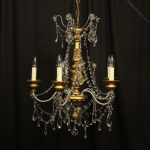 Florentine Giltwood Crystal Antique Chandelier