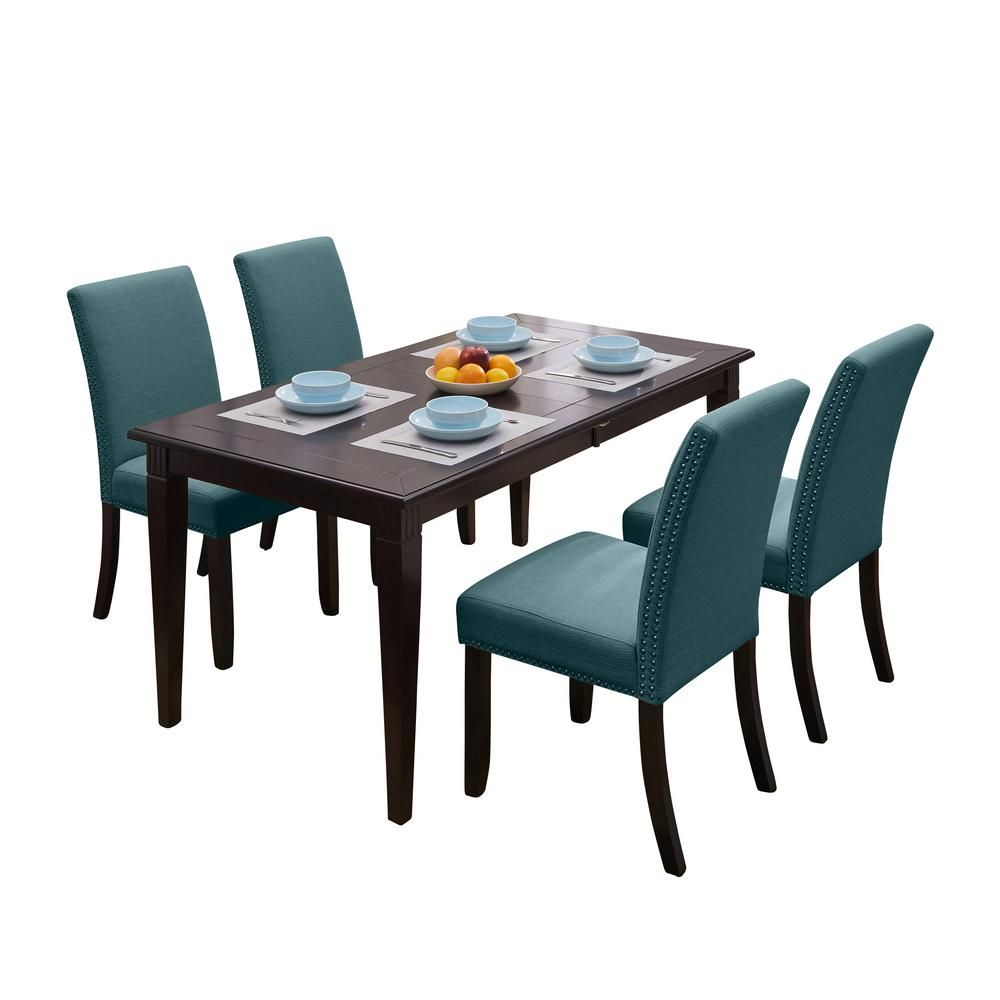 Handy Living Cristina 5-Piece Rectangular Dining Set With Upholstered Armless Chairs in Orange Linen, Orange Fabric & Espresso Brown Finish