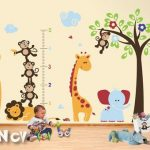 Kids Wall Decals and Animal Wall Stickers with Growth Chart, Giraffes, Lions, Monkeys and Elephant - PLSF070