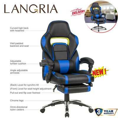 LANGRIA Gaming Chair Desk Office Ergonomic High-Back Computer Chair Adjustable #…