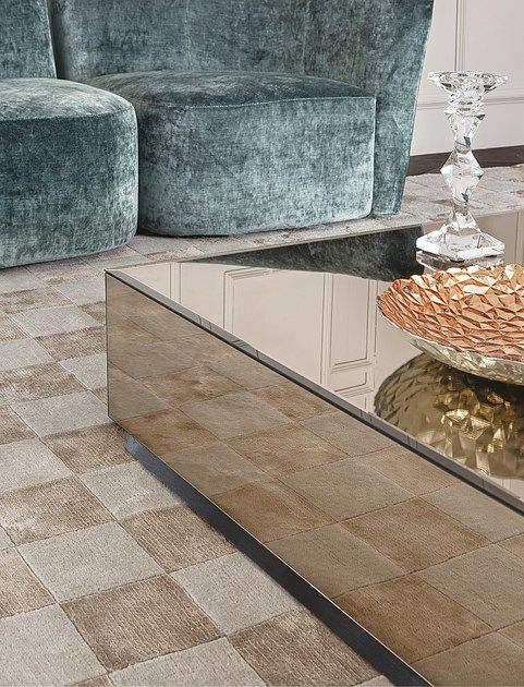 Low square mirrored glass coffee table BRYANT | Square coffee table by Casamilan…