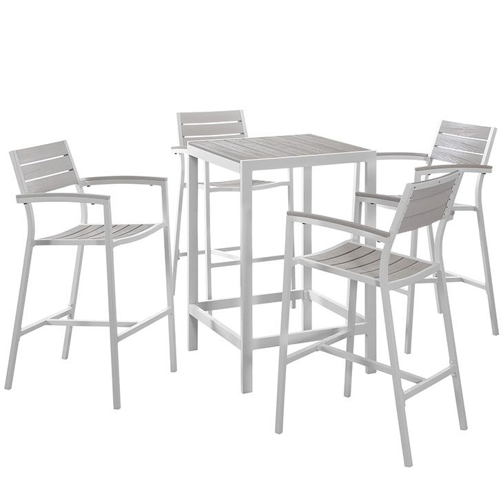 Maine 5 Piece Outdoor Patio Bar Set in White Light Gray – East End Imports EEI-1755-WHI-LGR-SET