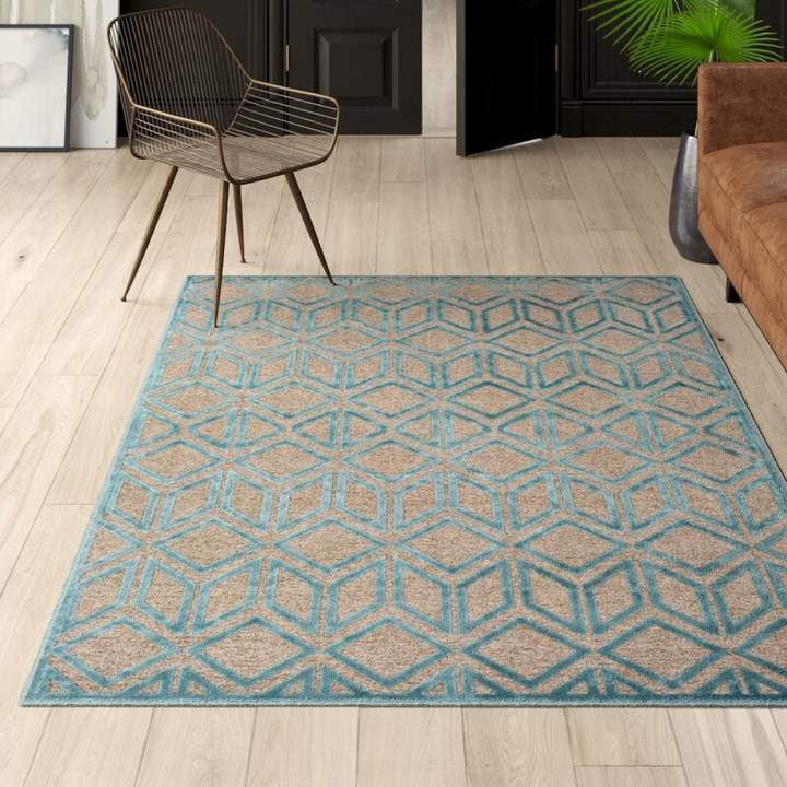 Mercury Row Laub Taupe/Teal Geometric Area Rug