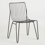 Modern and eye-catching, our metal chairs feature mid-century-inspired hairpin l...