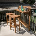 Noble House Adelaide Natural Stained 3-Piece Wood Rectangular Outdoor Serving Bar Set