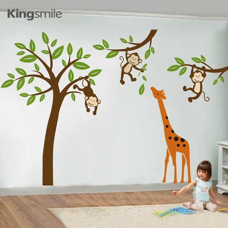 Nursery Wall Decals Cartoon Giraffe Monkeys Hanging On Tree Forest Wall Art Stickers Removable Kids Baby Room Home Decorations – Pixdora