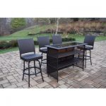 Oakland Living Elite 5-Piece Wicker Outdoor Bar Height Dining Set