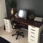 Office desk with IKEA ALEX drawer units as base. Except use as a makeup vanity i...