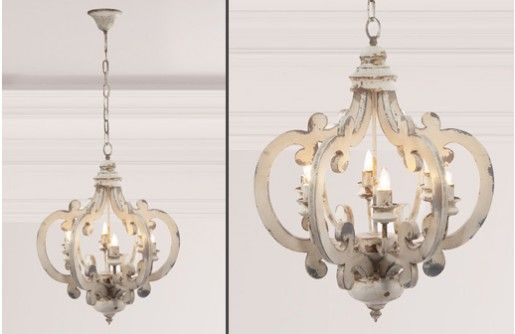 Our distressed wood chandelier is affordable and beautiful. This white chandelie…
