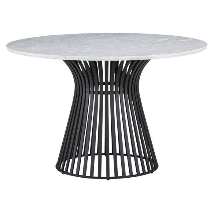 Palliser Furniture Mix & Match Dining Round Marble Top Dining Table Gold / Gray