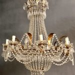 Rare Antique Italian/French 8 Light Empire Crystal Chandelier with Macaroni Crystal Beading, Gold Gilded Frame, Free Shipping to USA