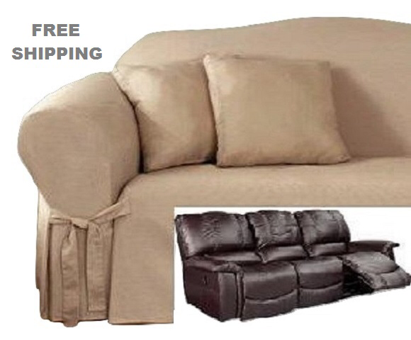 Reclining SOFA Slipcover Cotton Taupe Sure Fit Dual Recliner Couch