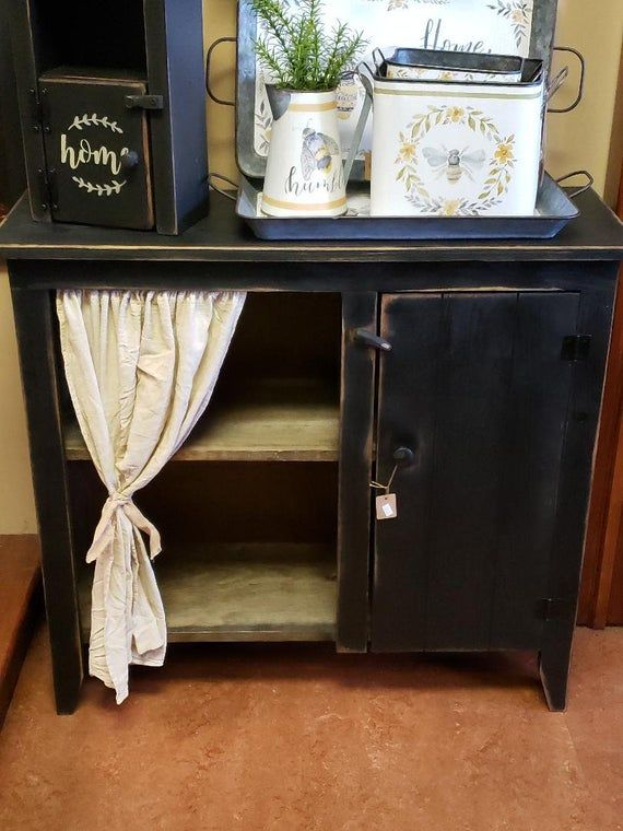 Rustic cabinet /jelly cabinet /rustic cabinet/ Farmhouse cabinet/ country cabinet/ vintage style cabinet with curtain tea stained