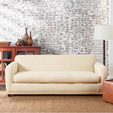 Stretch Tribal Two Piece Sofa Slipcover   Form-Fitting   Vertical Stripe   Machine Washable