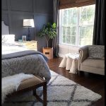 Thriftydecorchick never disappoints  Moody blue gray bedroom DIY wainscoting bam...