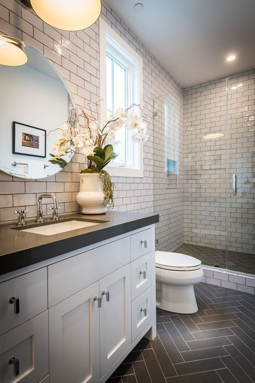 Traditional 3/4 Bathroom with Frameless Shower Doors By Dulles Glass and Mirror, European Cab…