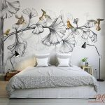 """Wall Mural, Nature, Large Corner Tree, Removable Wallpaper, Watercolor, Grey Tree with Gold birds, Kids Wall Sticker, Home Décor-126""""x79"""""""