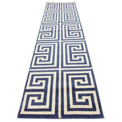 Willa Arlo Interiors Ellery Geometric Cream/Navy Blue Area Rug